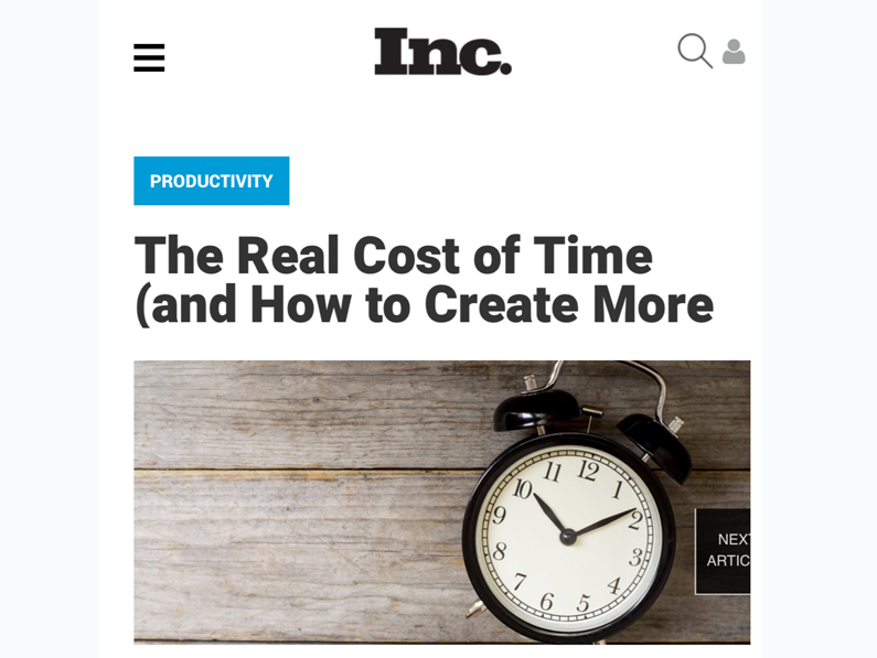 The Real Cost of Time in Inc.com